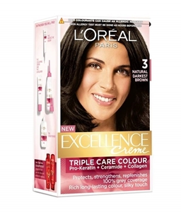 L'Oreal Hair Colour Excellence Natural Darkest Brown Shade 3 172 ml